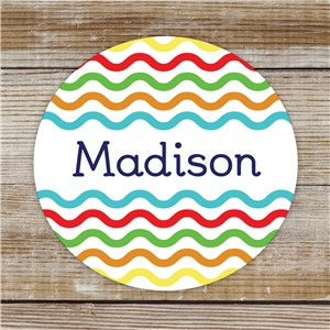 Personalized Wavy Lines Stickers | Custom Name Stickers