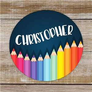 Personalized Colored Pencil Stickers | Custom Name Stickers