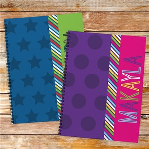 Personalized Stripe Notebook Set of 2 | Personalized Notebooks For Kids