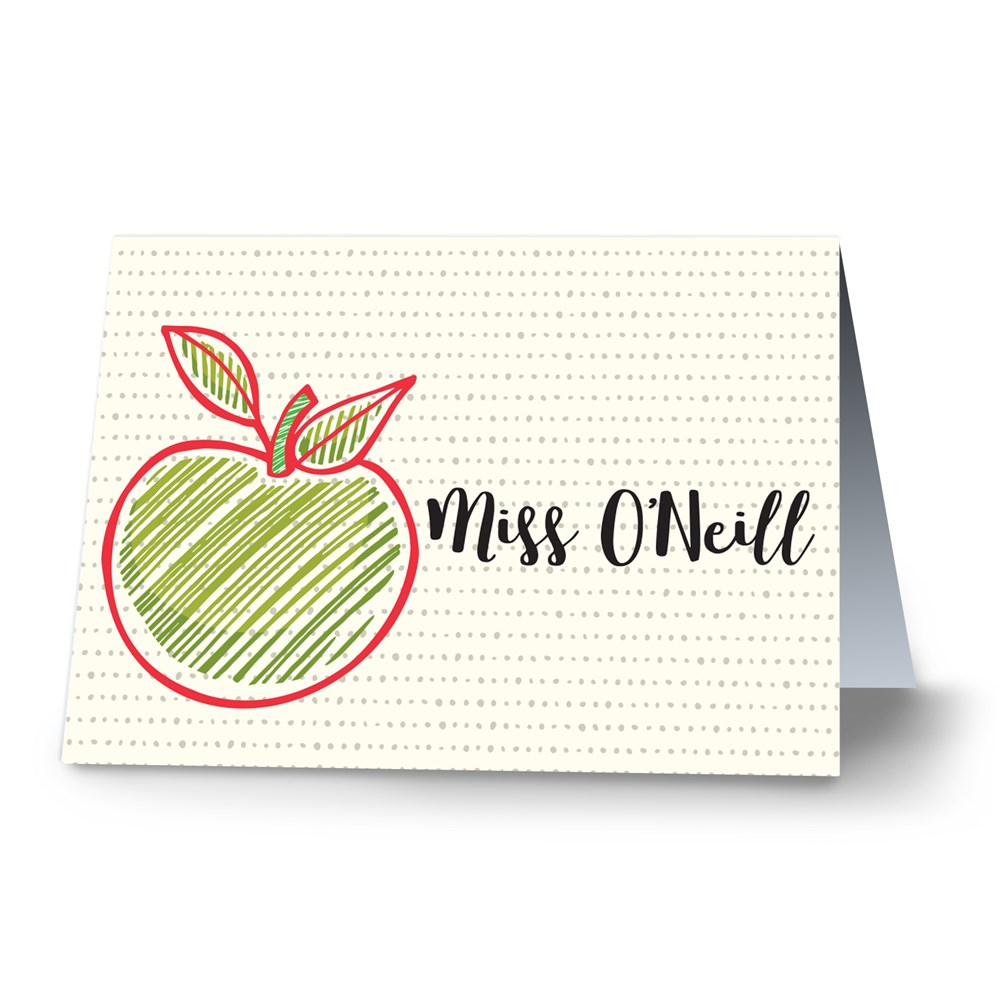 Personalized Apple Note Card | Personalized Note Card For Teachers