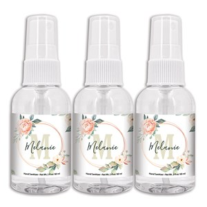 Personalized Name and Initial in Floral Frame Hand Sanitizer Spray Bottle