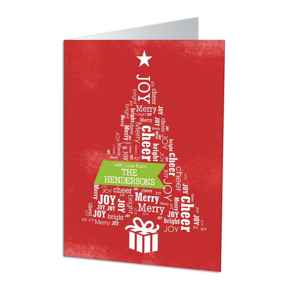 Christmas Tree Word Art Holiday Cards | Personalized Holiday Cards
