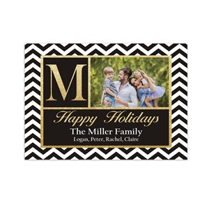 Chevron Monogram Photo Holiday Cards | Personalized Christmas Cards