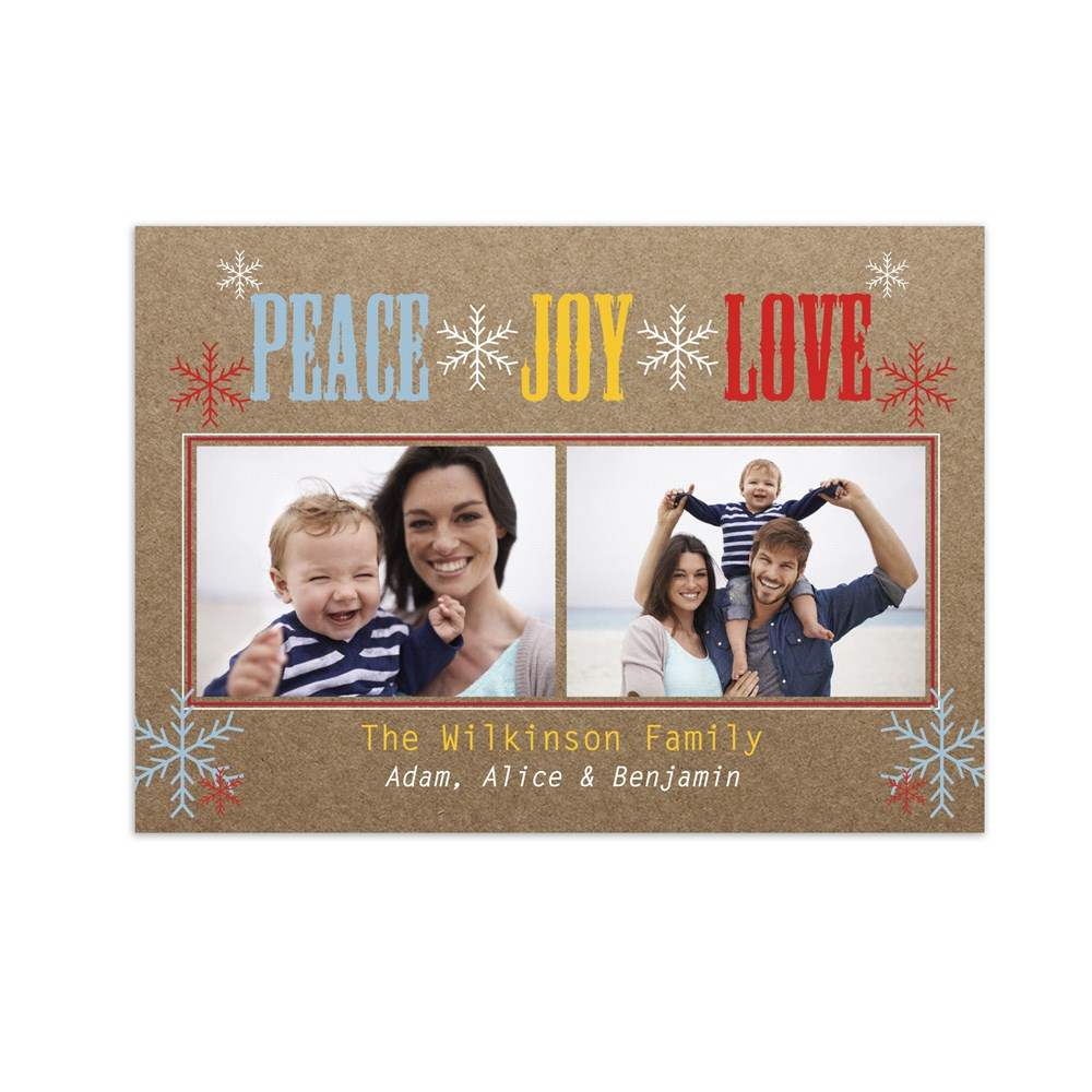 Peace, Love, Joy Photo Holiday Cards | Personalized Christmas Cards