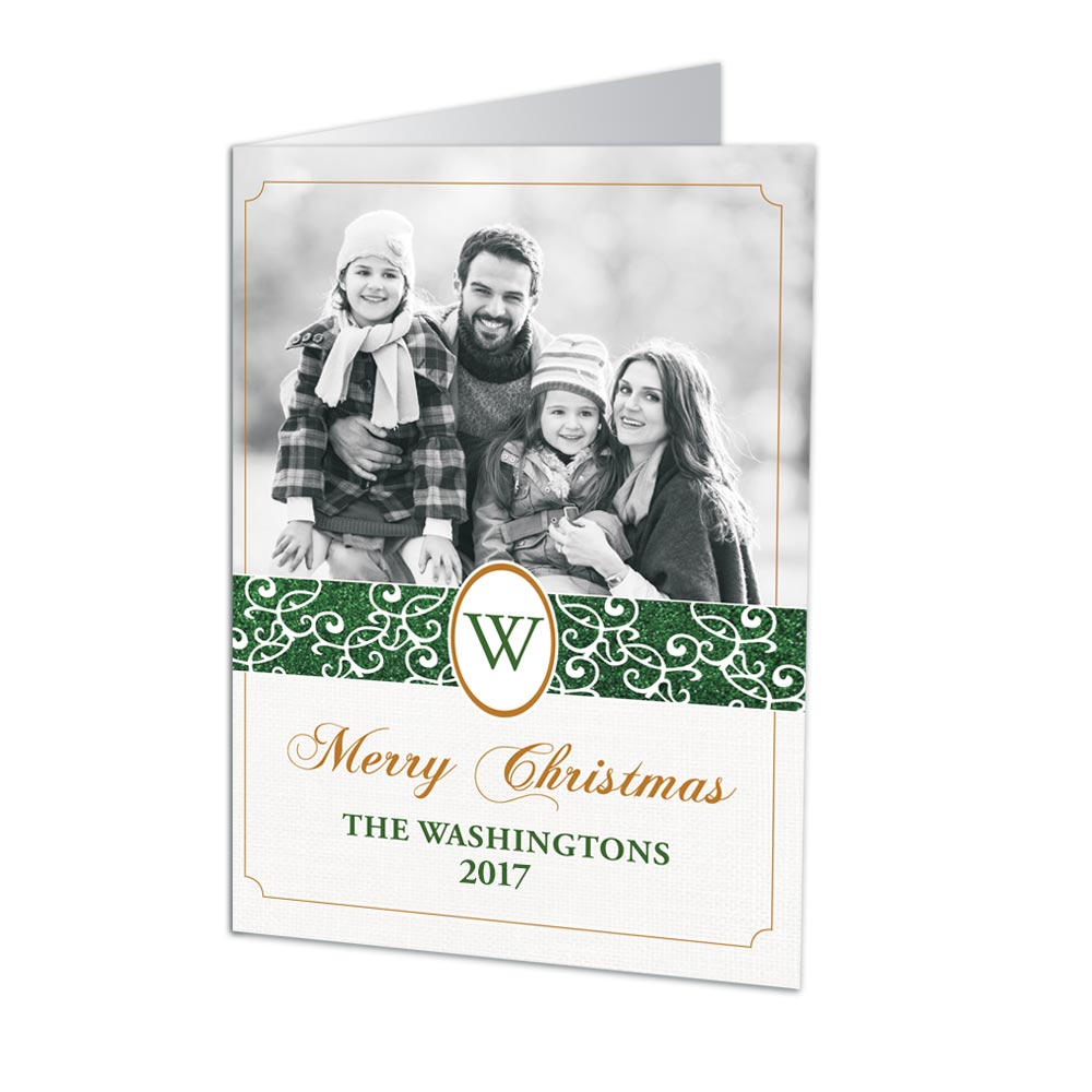 Classic Monogram Photo Christmas Cards | Personalized Holiday Cards