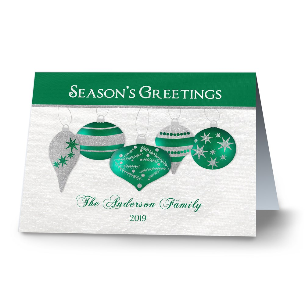 Shimmering Ornaments Personalized Holiday Cards | Personalized Holiday Cards