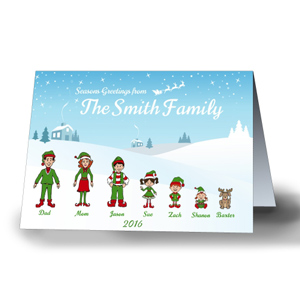 Holiday Character Personalized Christmas Cards-Folded 1975810X