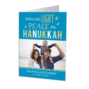 Peaceful Hanukkah Photo Greeting Cards-Folded | Personalized Holiday Cards