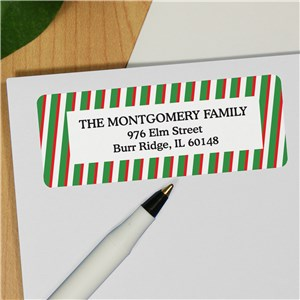 Striped Return Address Labels | Personalized Holiday Address Labels