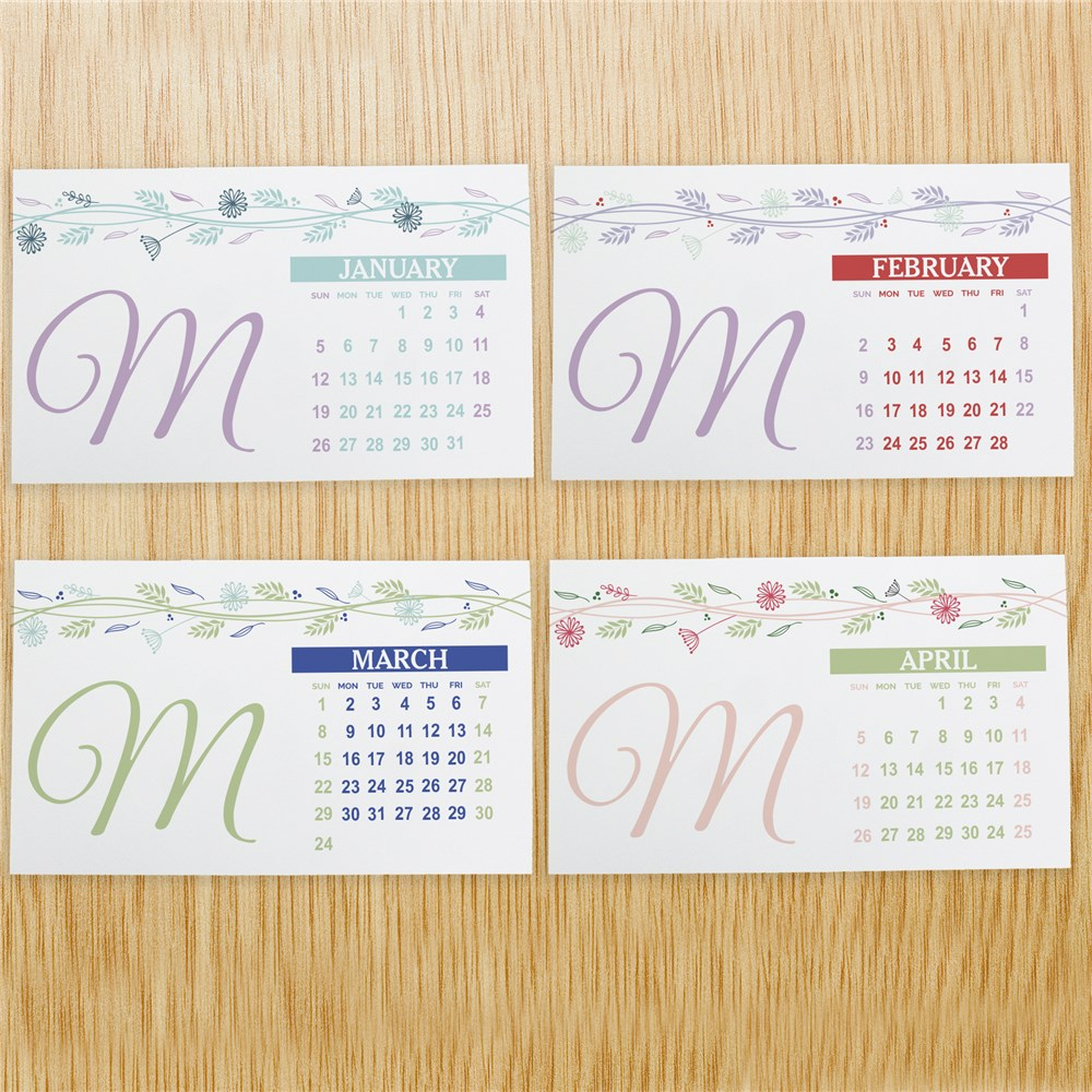 Personalized Floral Initial Desk Calendar | Personalized Gifts for Mom