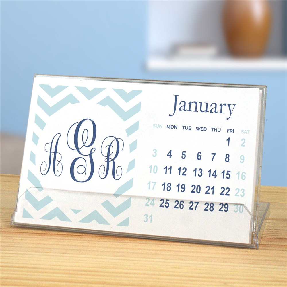 Personalized Chevron Monogram Desk Calendar | Personalized Calendar