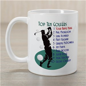 Top Ten Golfers Ceramic Coffee Mug | Customizable Coffee Mugs