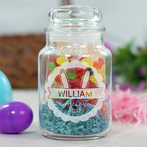 Engraved Bunny Ears Treat Jar | Personalized Spring Gifts