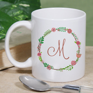 Personalized Single Initial Floral Mug