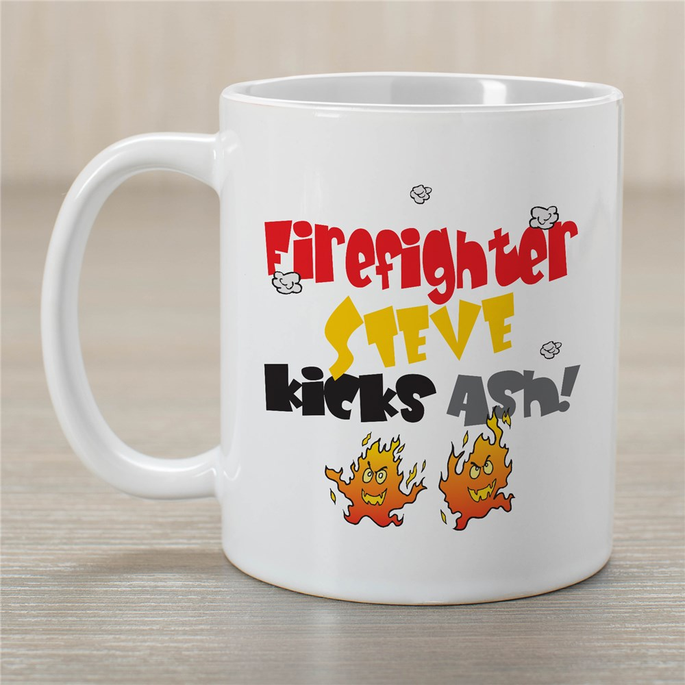Kicks Ash Firefighter Coffee Mug | Customizable Coffee Mugs