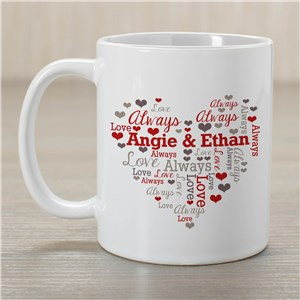 Personalized Couples Heart Word-Art Mug | Personalized Valentine's Day Mugs