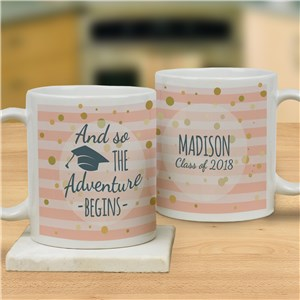 Personalized Adventure Begins Ceramic Mug | Graduation Mugs