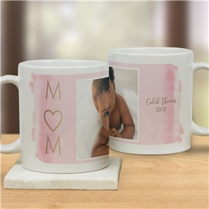 Personalized Watercolor Mom Photo Mug | Personalized Photo Mug For Mom