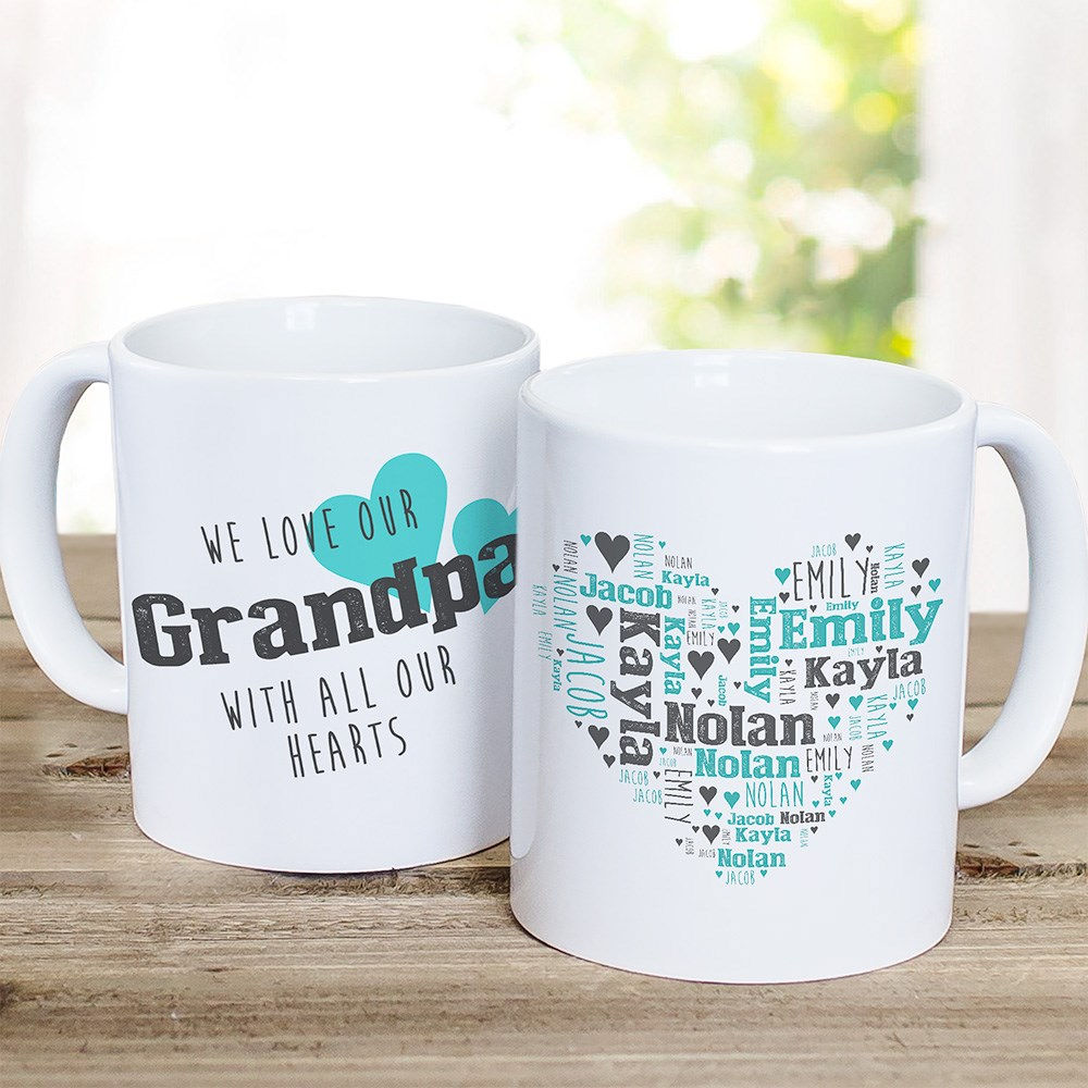 All Our Hearts Word-Art Mug | Personalized Grandpa Mug