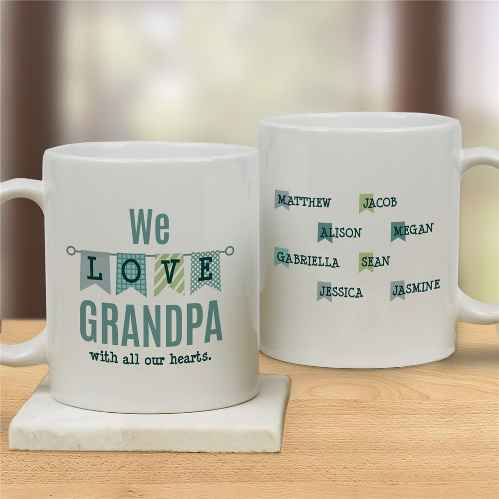 Personalized Love With All Our Hearts Coffee Mug | Personalized Grandpa Mugs