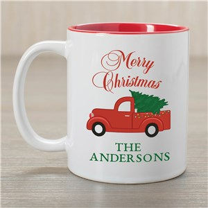 Personalized Merry Christmas Or Happy Holidays Choice Mug | Red Christmas Truck | Personalized Mug