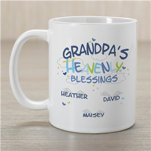 Grandpa Coffee Mug Heavenly Blessings Design | Personalized Grandpa Gifts