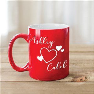 Engraved Coffee Mugs | Red Personalized Mugs