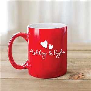 Red Mug With Names | Engraved Mug With Hearts