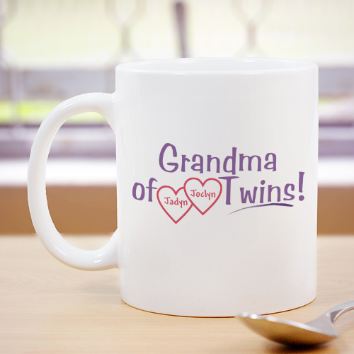Grandmother of Twins Personalized Mug | Customizable Coffee Mugs