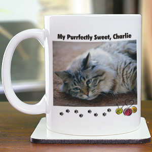 Purrfectly Sweet Cat Personalized Photo Coffee Mug