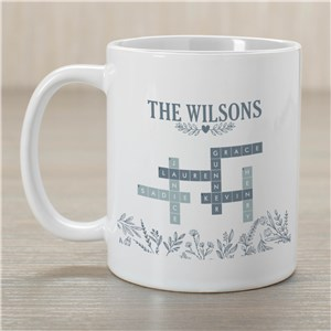 Personalized Blue Floral Cross Word Mug 215750