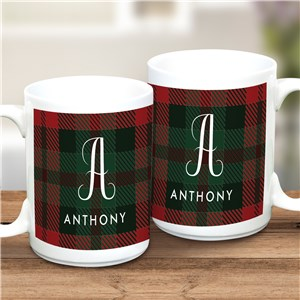Personalized Plaid Initial & Name Mug