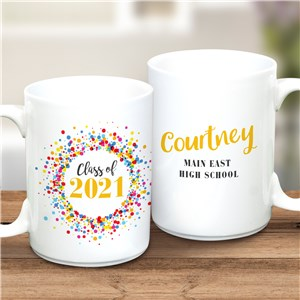 Personalized Class Of with Colorful Confetti 15 Oz Graduation Mug