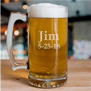 Any Name Sports Glass Mug | Personalized Groomsmen Beer Mugs