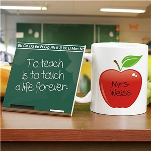 Chalkboard Teacher Personalized Mug and Coaster Set | Personalized Teacher Gifts