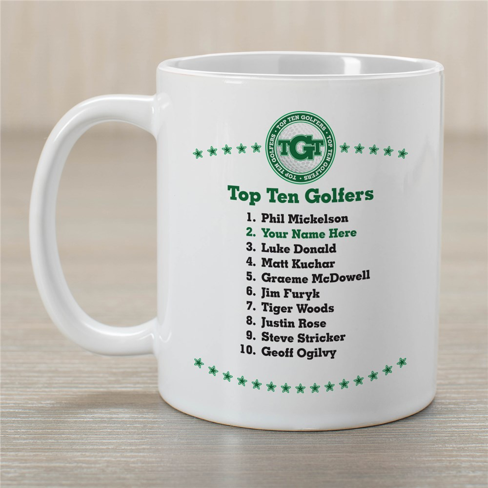 Personalized Top Ten Golf Ceramic Coffee Mug | Customizable Coffee Mugs