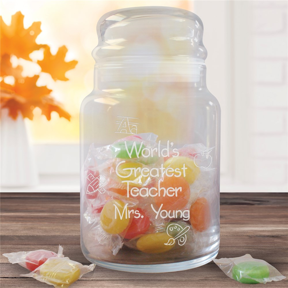 Engraved Teacher Treat Jar Gift | Personalized Teacher Gifts
