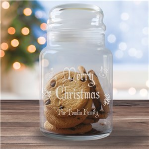 Engraved Merry Chrismtas Treat Jar Gift | Personalized Christmas Cookie Jar