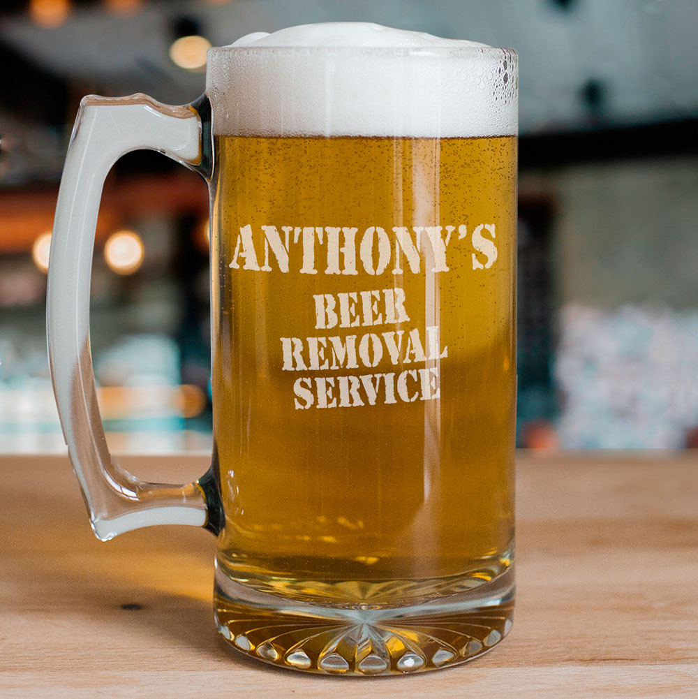 Engraved Beer Removal Service Glass Mug | Personalized Groomsmen Mugs