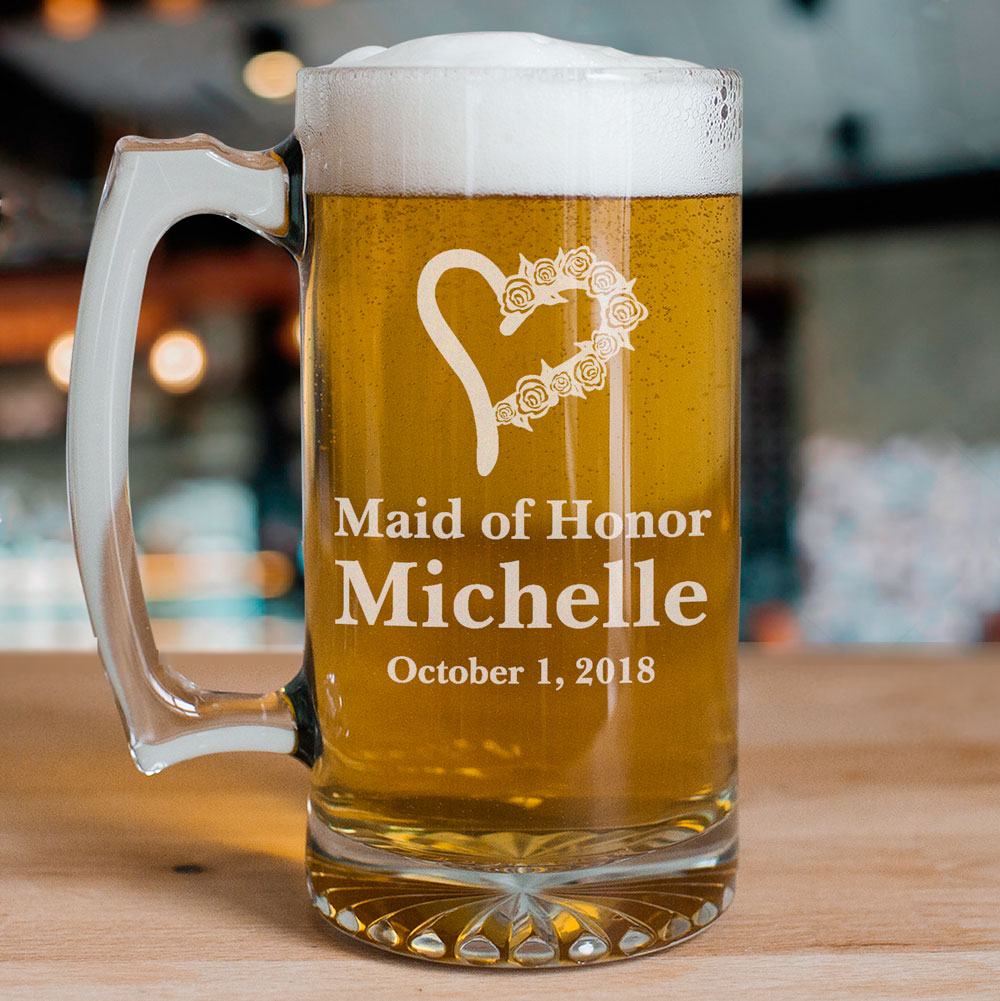 Personalized Bridesmaid Glass Mug | Personalized Bridesmaid Mug