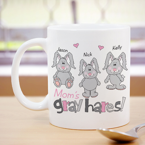 Personalized Gray Hares Ceramic Coffee Mug | Customizable Coffee Mugs