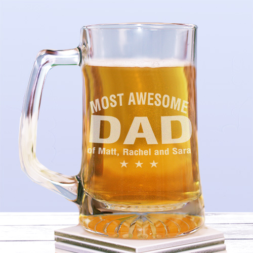 Engraved Most Awesome Parent Glass Mug | Father's Day Presents