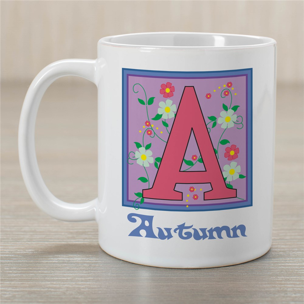 Floral Initial Mug | Customizable Coffee Mugs