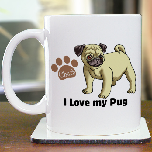 Personalized I Love My Pug Mug | Customizable Coffee Mugs