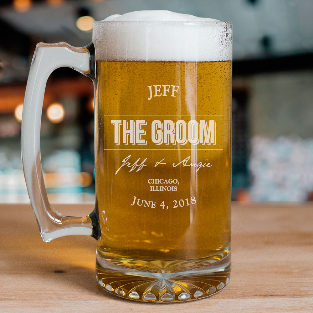 Engraved Groomsmen Glass Mug | Personalized Glassware