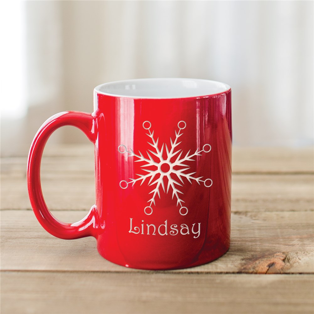 Snowflake Engraved Red Mug | Customizable Coffee Mugs