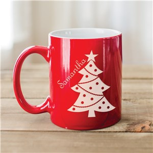 Christmas Tree Engraved Red Mug | Customizable Coffee Mugs