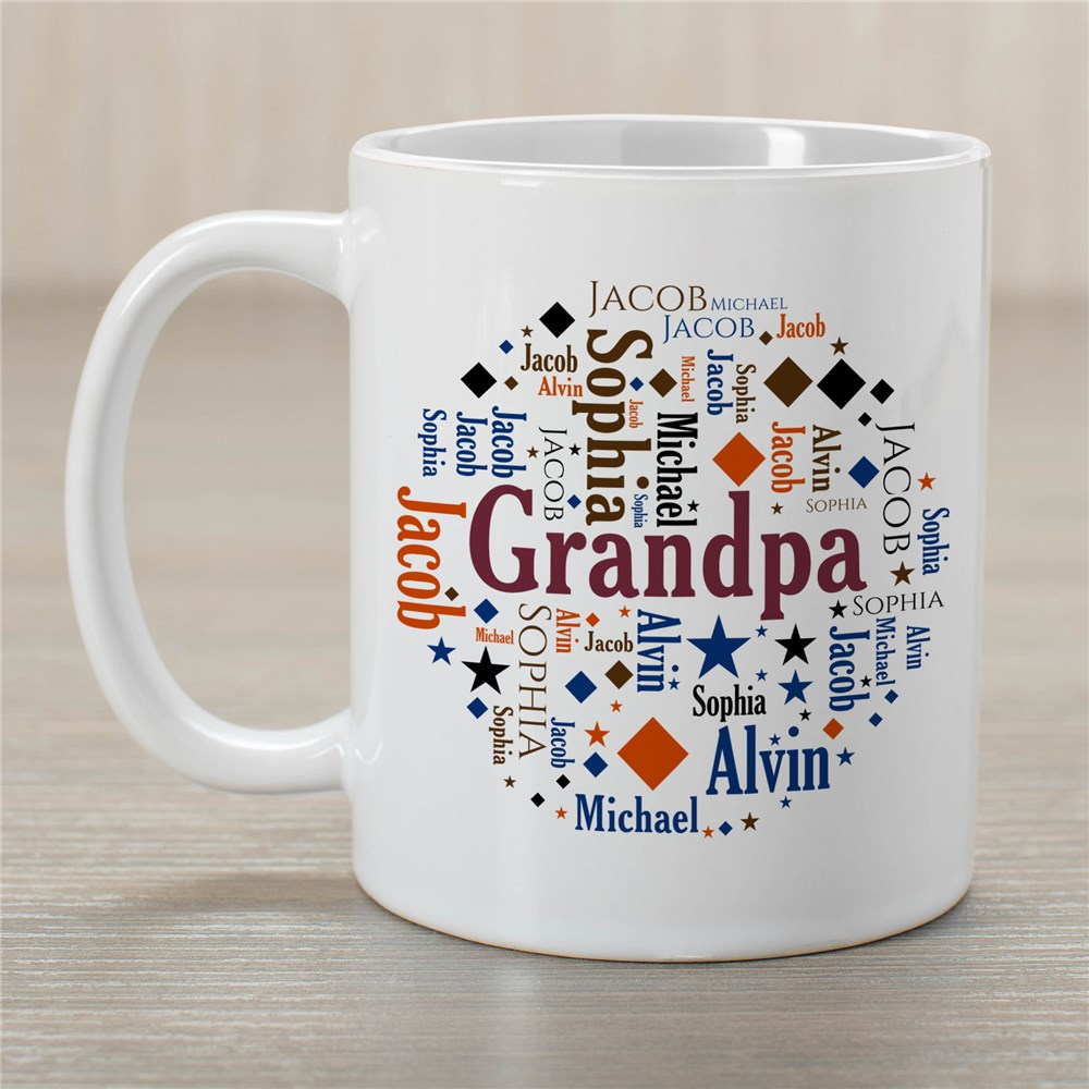 Family Circle Word Art Coffee Mug | Father's Day Presents For Grandpa