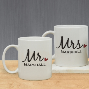 Personalized Mr. And Mrs. Mug Set