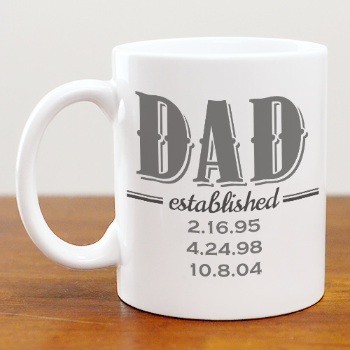 Personalized Dad Established Ceramic Mug | Coffee Mugs For Dad